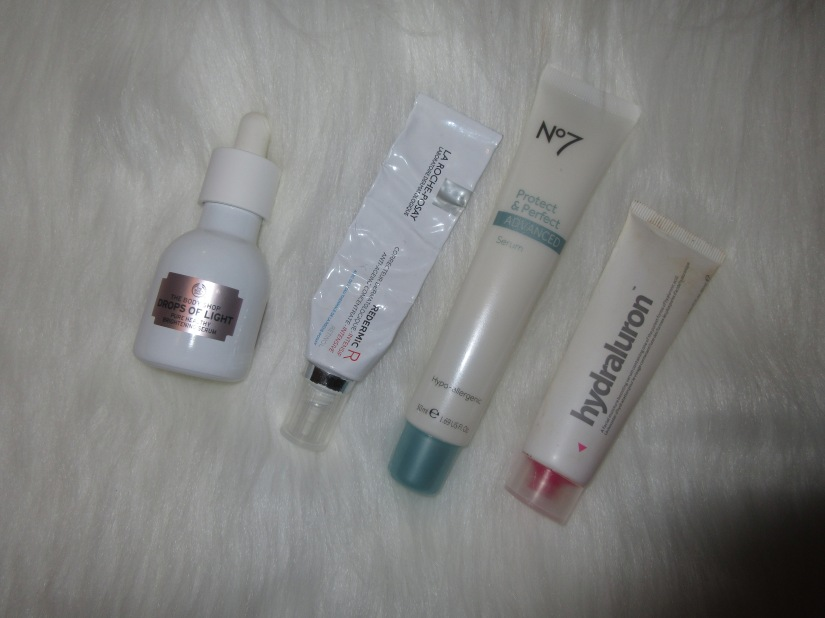 La Roche-Posay Redermic No7 ADVANCED serum Indeed Labs Hydraluron Drops of Light Serum